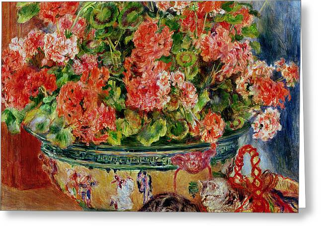 Geraniums and Cats Greeting Card by Pierre Auguste Renoir