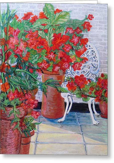 Red Art Greeting Cards - Geraniums and Petunias on the Terrace Greeting Card by Joan Thewsey