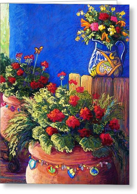 Wall Pastels Greeting Cards - Geraniums and Talavera Greeting Card by Candy Mayer