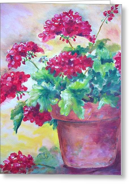 Red Geraniums Greeting Cards - Geraniums Greeting Card by Carolyn Bell