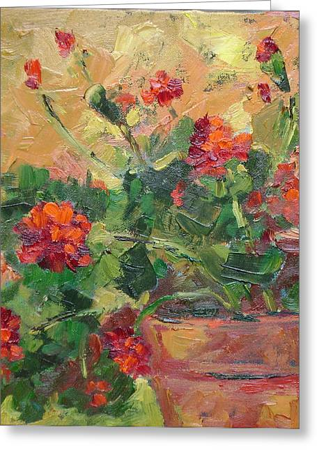 Red Geraniums Greeting Cards - Geraniums II Greeting Card by Ginger Concepcion