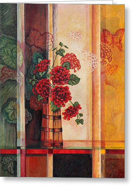Red Geraniums Greeting Cards - Geraniums in Churn Greeting Card by Joselyn Holcombe