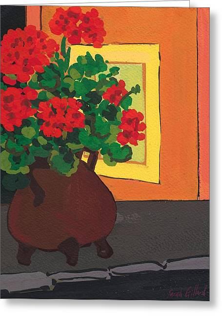 Red Geraniums Paintings Greeting Cards - Geraniums in Saint-Pompon Greeting Card by Sarah Gillard