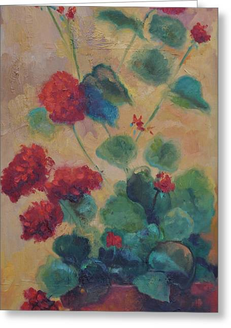 Red Geraniums Greeting Cards - Geraniums IV Greeting Card by Ginger Concepcion