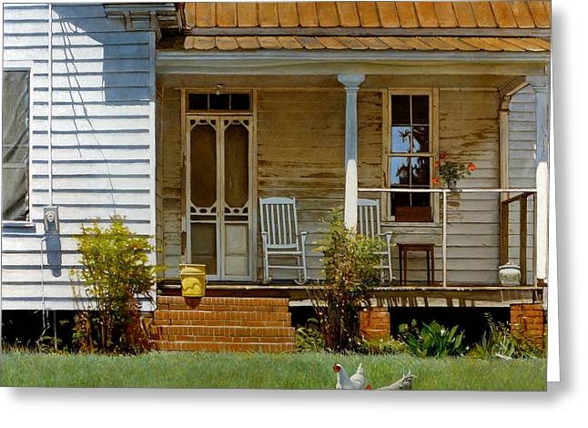Old Houses Greeting Cards - Geraniums on a Country Porch Greeting Card by Doug Strickland
