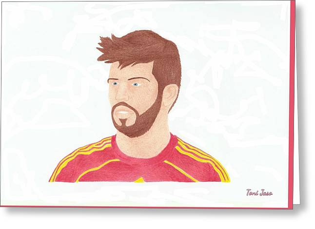 Player Drawings Greeting Cards - Gerard Pique Greeting Card by Toni Jaso
