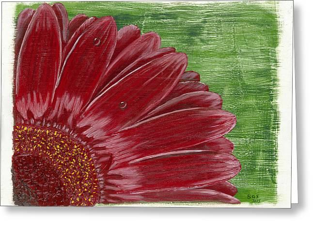 Susan Schmitz Greeting Cards - Gerber Daisy- Red Greeting Card by Susan Schmitz