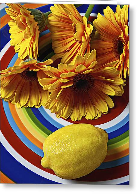 Gerbera Daisy's And Lemon Greeting Card by Garry Gay