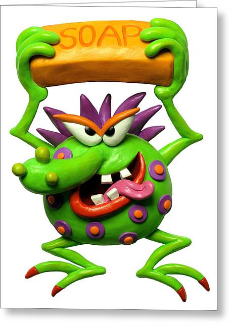 Clay Sculpture Greeting Cards - Germ Monster Greeting Card by Amy Vangsgard
