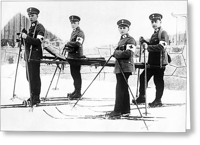 German Ambulance On Skis Greeting Card by Underwood Archives