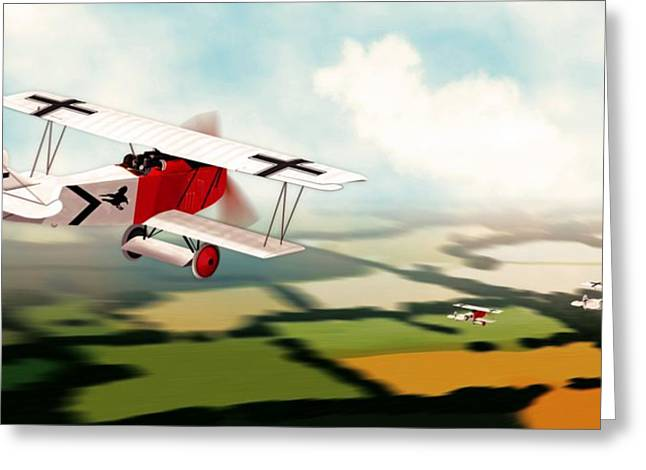 World War One Digital Greeting Cards - German Fokker D7 WW1 Fighter Greeting Card by John Wills