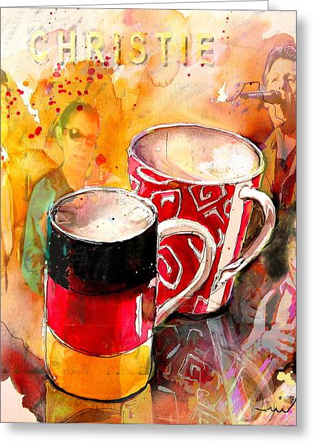 Jeff Drawings Greeting Cards - German Mugs and Christie Greeting Card by Miki De Goodaboom