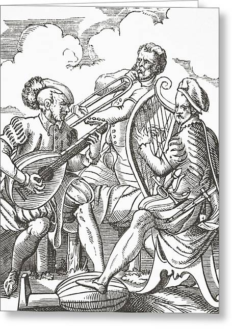 Lute Drawings Greeting Cards - German Musicians Playing The Lute And Greeting Card by Vintage Design Pics