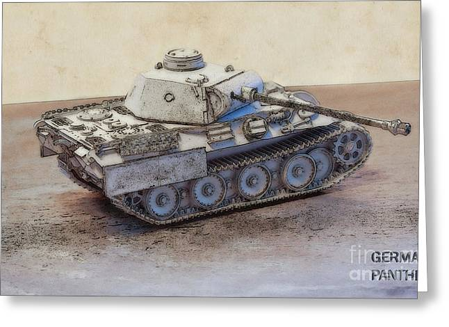 Soldier Of Fortune Greeting Cards - German Panther Tank Greeting Card by Randy Steele