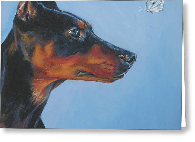 German Shepard Dogs Greeting Cards - German Pinscher Greeting Card by Lee Ann Shepard