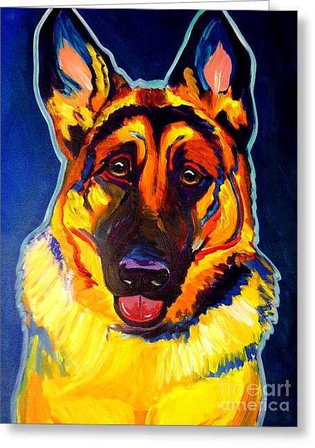 Yellow Dog Greeting Cards - German Shepherd - Sengen Greeting Card by Alicia VanNoy Call