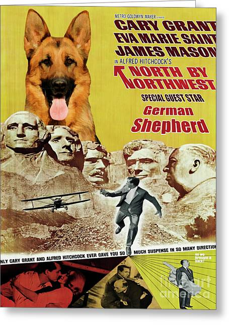 German Shepherd Art Canvas Print - North By Northwest Movie Poster Greeting Card by Sandra Sij