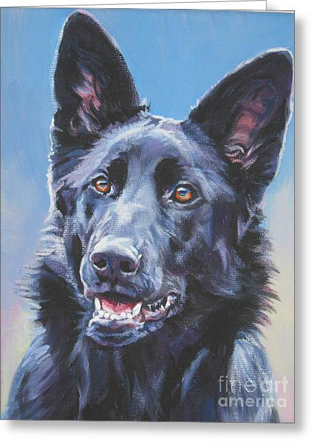 German Shepherd Greeting Cards - German Shepherd Black Greeting Card by Lee Ann Shepard