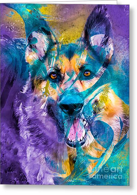 Bred Mixed Media Greeting Cards - German Shepherd Dog Greeting Card by Laura L Leatherwood