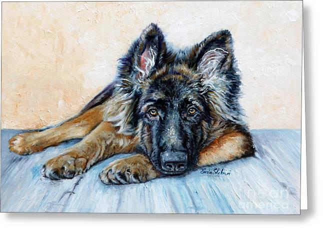 Police Dog Greeting Cards - German Shepherd Greeting Card by Enzie Shahmiri