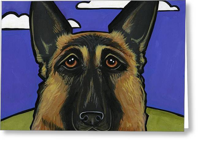 Guard Dog Greeting Cards - German Shepherd Greeting Card by Leanne Wilkes