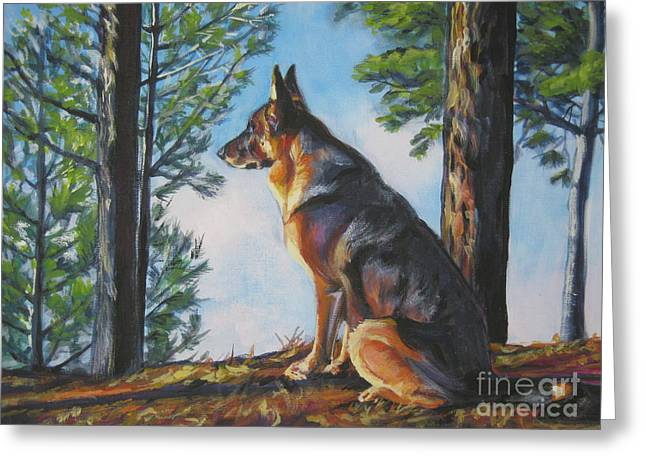 Puppies Paintings Greeting Cards - German Shepherd Lookout Greeting Card by Lee Ann Shepard
