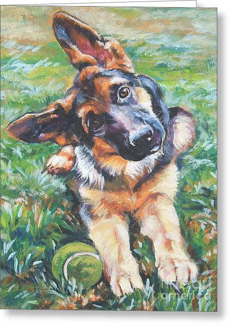 Tennis Ball Greeting Cards - German shepherd pup with ball Greeting Card by L A Shepard
