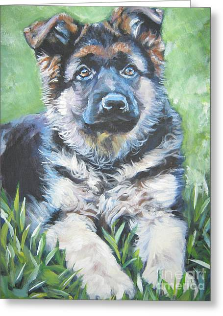 Gsd Greeting Cards - German Shepherd Puppy Greeting Card by Lee Ann Shepard