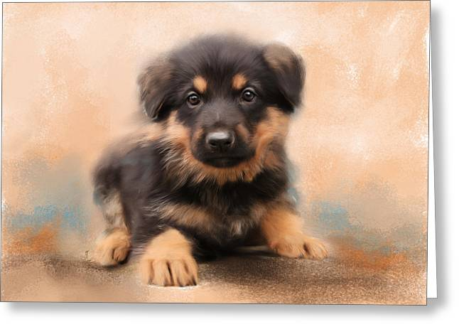 Gsd Greeting Cards - German Shepherd Puppy Portrait Greeting Card by Jai Johnson