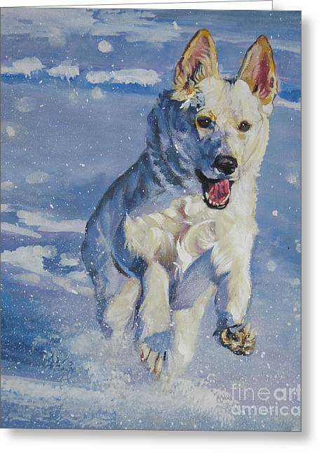 German Shepard Dogs Greeting Cards - German Shepherd white in snow Greeting Card by Lee Ann Shepard