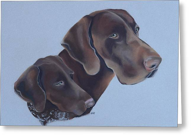 Breeds Pastels Greeting Cards - German Short Haired Pointers Greeting Card by Catt Kyriacou