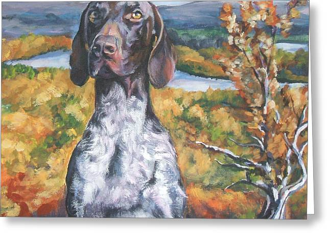 German Shepard Dogs Greeting Cards - German Shorthaired Pointer Autumn Greeting Card by Lee Ann Shepard