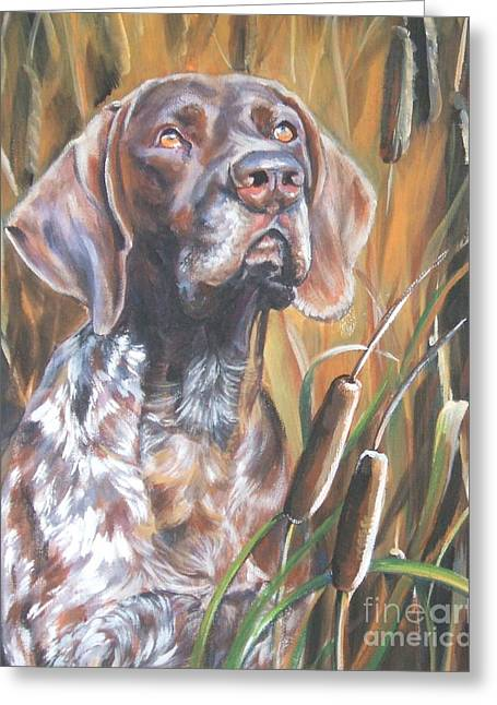 German Shepard Dogs Greeting Cards - German Shorthaired Pointer in Cattails Greeting Card by Lee Ann Shepard