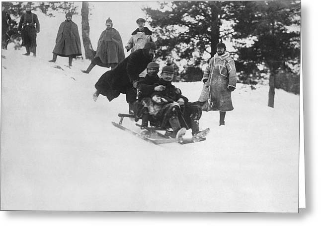 German Soldiers Sledding Greeting Card by Underwood Archives