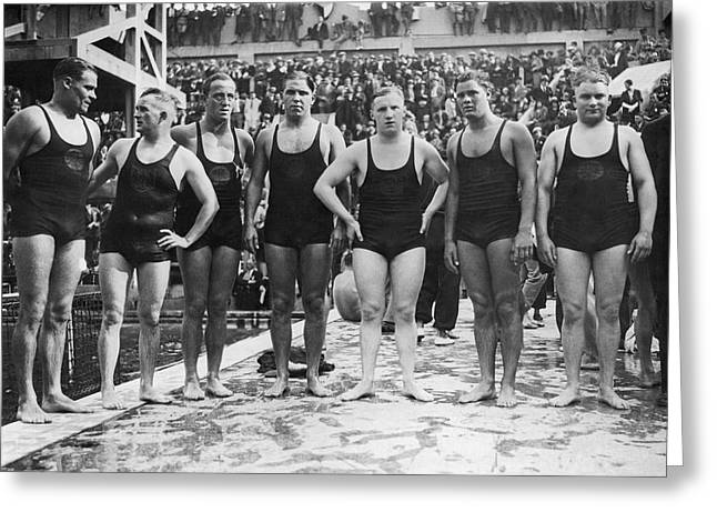 German Water Polo Team Greeting Card by Underwood Archives