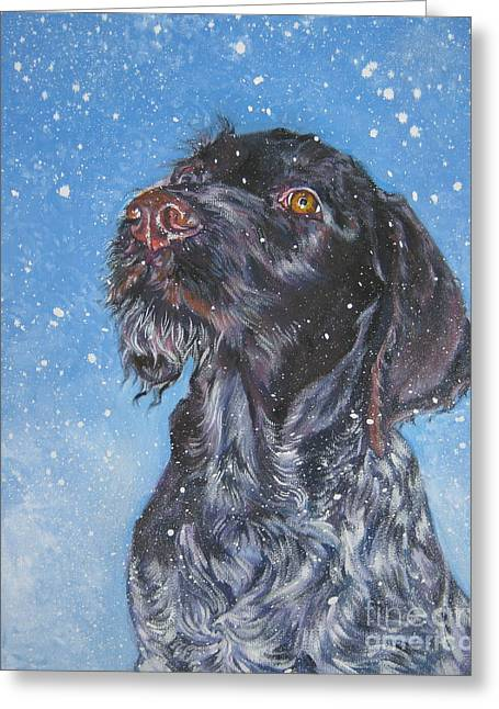 German Shepards Greeting Cards - German Wirehaired Pointer Greeting Card by Lee Ann Shepard