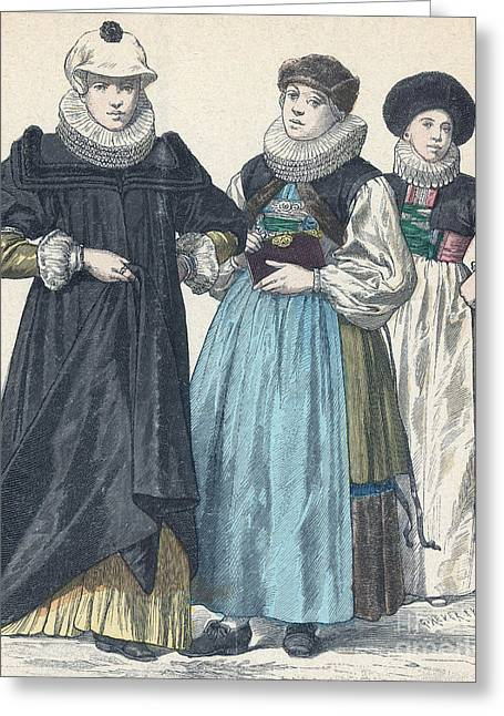 Apparel Greeting Cards - German Womens Fashion, 1640 Greeting Card by Science Source