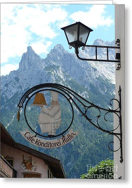 Craggy Greeting Cards - Germany - Cafe Sign Greeting Card by Carol Groenen