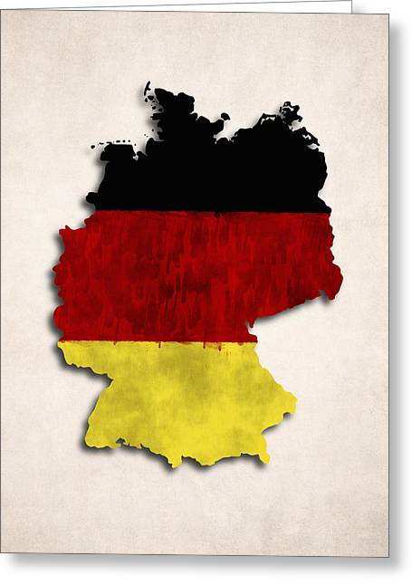 Map Of Germany Greeting Cards - Germany map art with flag design Greeting Card by World Art Prints And Designs