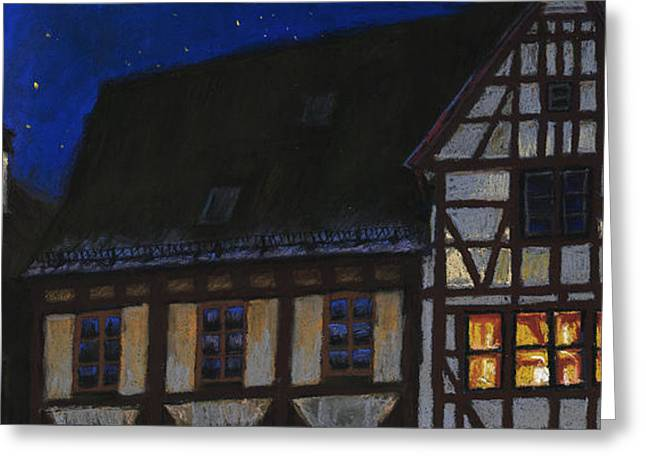 Urban Pastels Greeting Cards - Germany Ulm Fischer Viertel MoonRoofs Greeting Card by Yuriy  Shevchuk