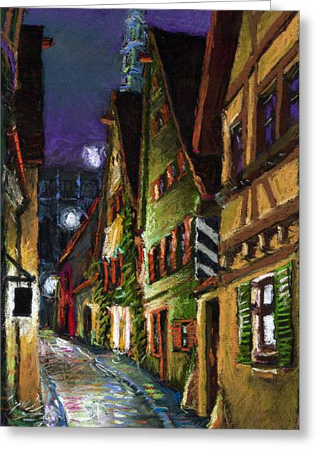 Pastels Pastels Greeting Cards - Germany Ulm Old Street Night Moon Greeting Card by Yuriy  Shevchuk