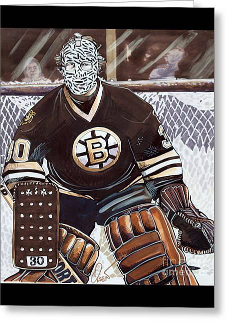 Gerry Cheevers Greeting Card by Dave Olsen