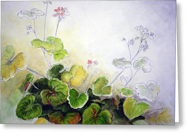 Red Geraniums Mixed Media Greeting Cards - Gerry Greeting Card by Sandra Taylor-Hedges