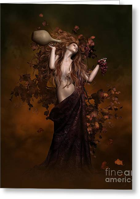 Wine-bottle Digital Greeting Cards - Geshtinanna Goddess of Grape Vine Greeting Card by Shanina Conway