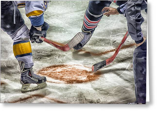 Sports Face Off Greeting Cards - Get Ready Greeting Card by Sharon Takade