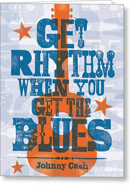 Hank Greeting Cards - Get Rhythm - Johnny Cash Lyric Poster Greeting Card by Jim Zahniser