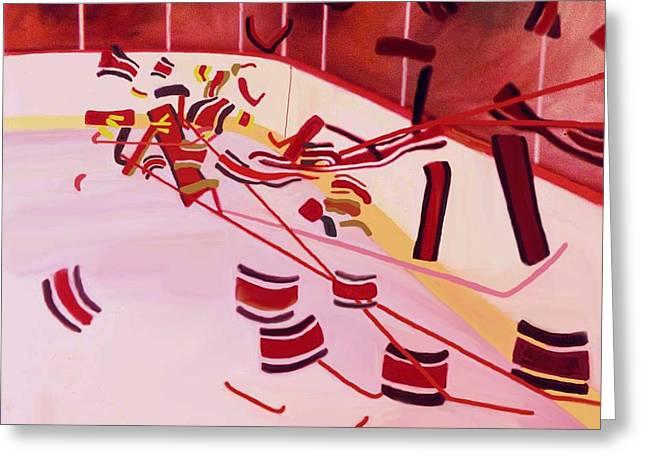 Hockey Paintings Greeting Cards - Get Up And Skate Greeting Card by Ken  Yackel