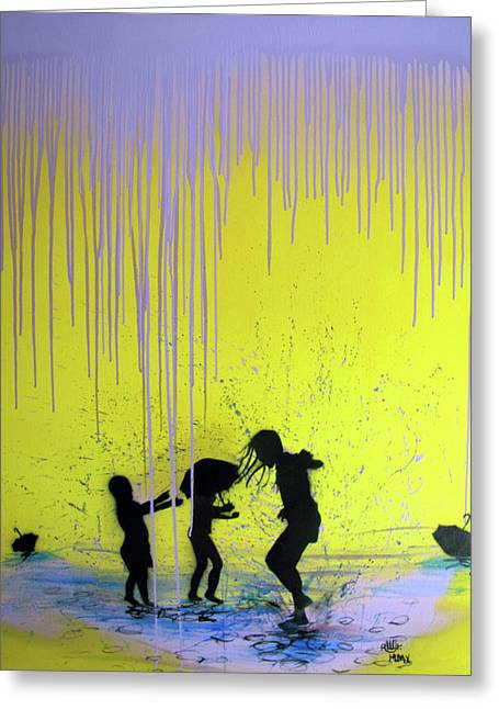 Kids Playing Greeting Cards - Get Your Feet Wet Greeting Card by Robert Wolverton Jr
