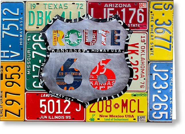 Get Greeting Cards - Get Your Kicks on Route 66 Recycled Vintage State License Plate Art by Design Turnpike Greeting Card by Design Turnpike