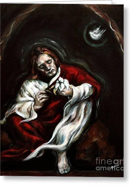 Carrie Joy Byrnes Greeting Cards - Gethsemane Greeting Card by Carrie Joy Byrnes